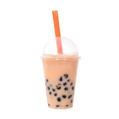 Bubble Tea orange mit Tapiokaperlen