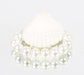 Beautiful exotic shell and pearls