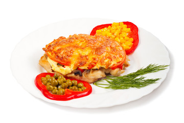 meat with cheese and vegetables