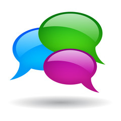 Vector coloured speech bubbles, social media symbol