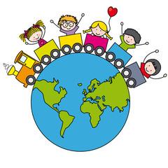 Niños en un tren  alrededor del mundo