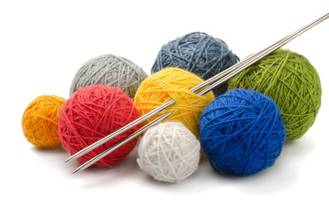 Color yarn balls and knitting needles