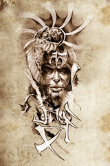 Wall Mural - Tattoo art, sketch of a japanese warrior in vintage style
