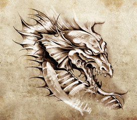 Fototapete - Sketch of tattoo art, dragon over antique paper