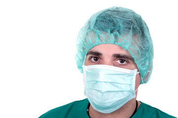 surgeon on white background