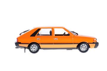 Orange old city car on white background.