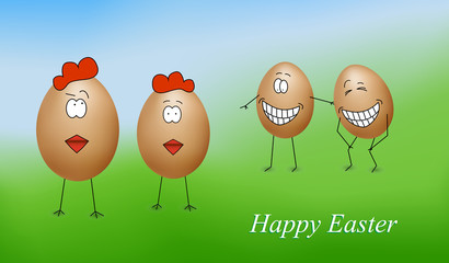 Funny easter eggs - Happy Easter Card-vector
