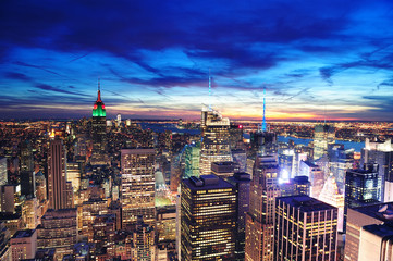 Fotomurales - New York City Manhattan skyline aerial view