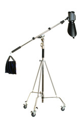 Studio flash with background reflector on white