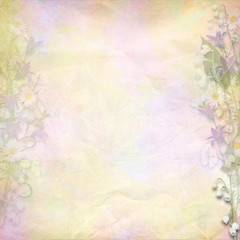 Retro colorful background with spring flowers