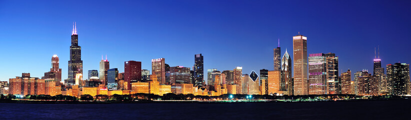 Fototapete - Chicago night panorama