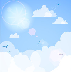 Photo sur Aluminium Ciel Good weather background. Blue sky with clouds