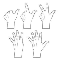 Mit der hand zählen 1,2,3,4,5,