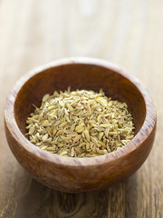 close up of a bowl of fennel seeds