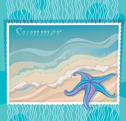Marine background with starfish