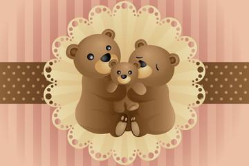 Bear family hugging