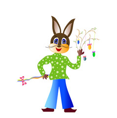 Easter bunny with Easter hymns, vector