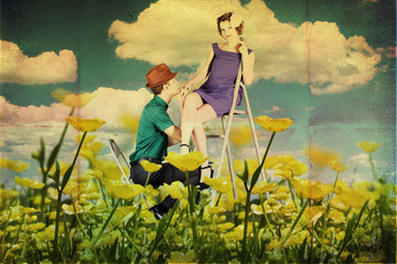 beauty young lovers on the meadow
