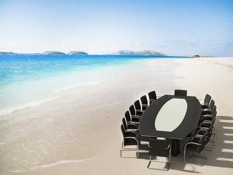 Meeting room in a tropical beach