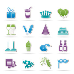 birthday and party icons - vector icon set