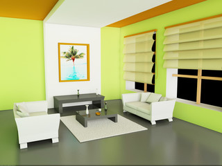 3d Illustration of modern interior of living-room.