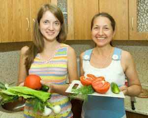 Women  with vegetables