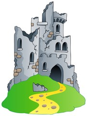 Castle ruins on hill