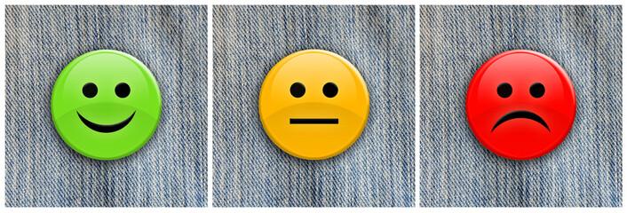 Smile / frown badges on denim