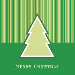 green Christmas card with tree. Vector EPS10