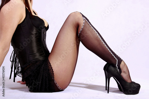 "Sexy legs in black stockings and high heels"" Stock photo and ..."