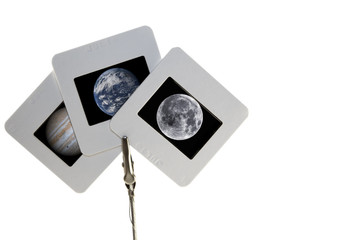 Three slide photos containing NASA images of space