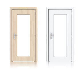Wooden light and white painted doors with windows.