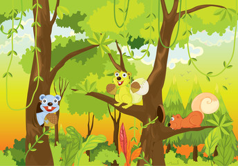 Poster de jardin Forets enfants squirrels in the jungle