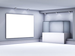 3d glass showcase and lightbox with spotlights for exhibit in th