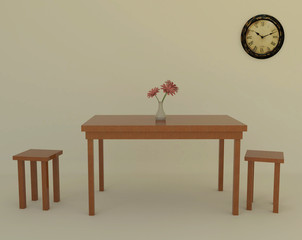 Table in a empty room with old clock