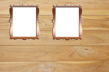 Picture frame on wood background