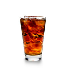 Cola with ice cubes over white background