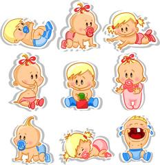 Векторные иллюстрации мальчиков и девочек-младенцев