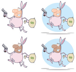 Happy Bandits Running With Rabbit Costume. Vector Collection