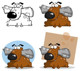 Dog Holds Newspaper In Mouth. Vector Collection