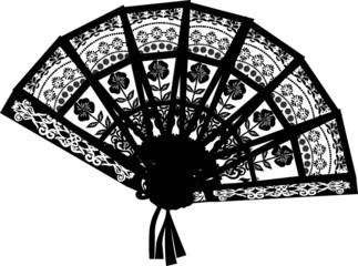 decorated black fan isolated on white
