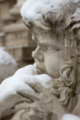 Detail of Trevi Fountain in Rome.