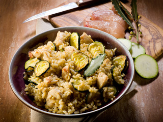 risotto with  chicken chest and zucchinis