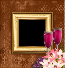 glass of wine with fruit and flowers on the background of a gold