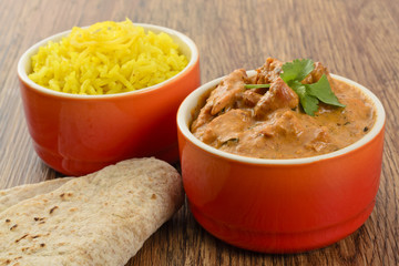 Butter Chicken & Lemon Rice - Indian curry, rice & chapatis