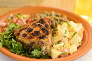 BBQ Chicken - Grilled chicken served with potato salad and salsa