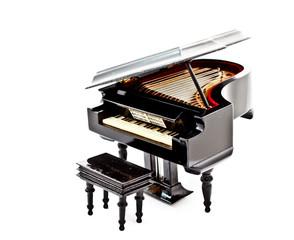 grand piano model on white background