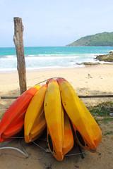 Surf boards on Yanui beach, Phuket Thailand