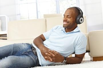 Man enjoying music on headphones