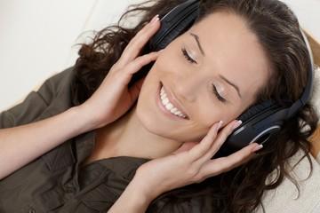 Happy woman with headphones